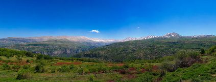 Aménagez la vue en parc aux montagnes et à la vallée sainte de Kadisha Valley aka au Liban Photographie stock libre de droits
