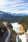 Aménagez la vue en parc des Alpes du pont de Highline 179 Reutte, Tyrol, Autriche Images stock