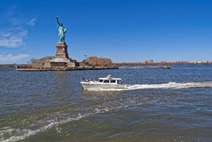 Aménagez la vue en parc panoramique de la statue de la liberté Photographie stock libre de droits