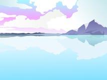Aménagez les montagnes en parc à l'arrière-plan avec la réflexion sur l'eau illustration de vecteur