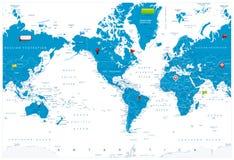 América centró el mapa del mundo e iconos brillantes en mapa Imagenes de archivo