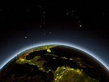 América Central na noite Fotografia de Stock