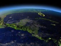 América Central na noite Imagem de Stock