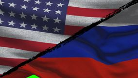 América CONTRA las banderas de Rusia almacen de video
