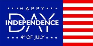 América Día de la Independencia 4 de julio con color de la bandera ilustración del vector