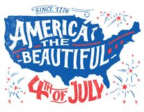 América el cuarto hermoso de la tarjeta de felicitación de julio imagen de archivo