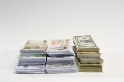 Américain, Anglais et euro devise de papier Photo libre de droits