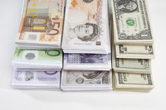 Américain, Anglais et euro devise de papier Photographie stock libre de droits