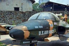 Américain Jet Fighter Plane sur l'affichage au musée de restes de guerre Photo libre de droits