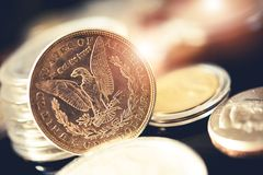 Américain pièces de monnaie de l'un dollar Image libre de droits