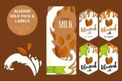 Amêndoa no respingo do leite Bloco do leite da amêndoa com crachá superior da qualidade, etiquetas orgânicas das etiquetas Etique ilustração stock