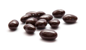 Amêndoas cobertas de chocolate Fotografia de Stock
