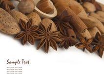 Amêndoas e especiarias Fotografia de Stock Royalty Free