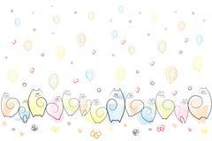 Amüsante emotionale Katzen auf einem festlichen Hintergrund von Ballonen, Blumen, Herzen, Spiralen, die Skizzen-Hintergrund-Vekto vektor abbildung