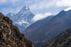 Ama Dabalm mountain peak between the way to Pangboche village, E Royalty Free Stock Photography