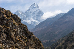 Ama Dabalm mountain peak between the way to Pangboche village, E. Verest region, Nepal, Asia Royalty Free Stock Photo