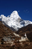 Ama Dablam. Himalayas, Nepal, chorten in the foreground on the trail Stock Image