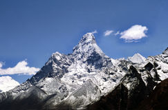 Ama Dablam. Is often called the Matterhorn of the Himalayas.  means Mother and her Necklace and is a stunningly beautiful mountain in the Everest region of the Royalty Free Stock Images