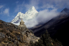 Ama Dablam 6858 m. The Ama Dablam is located in Nepal, in the Kumbu valley close to The Everest mount royalty free stock photography