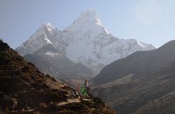Ama Dablam above a stupa Royalty Free Stock Images