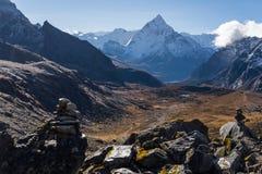 Ama Dablam-berg piekmening van Chola-pas, Everest-gebied, N stock foto's
