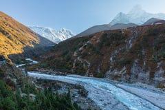 Ama Dablam Everest Nuptse Lhotse mountains morning. Royalty Free Stock Photos