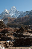 Ama Dablam with fields in front Stock Photos