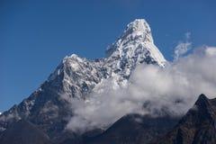 Ama Dablam halny szczyt od Namche bazaru widoku punktu, Everest Zdjęcia Royalty Free