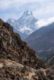 Ama Dablam halny szczyt, sławny szczyt w Khumbu regionie, Everest Obraz Royalty Free