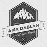Ama Dablam in Himalayas, Nepal outdoor adventure. Ama Dablam in Himalayas, Nepal outdoor adventure logo. Pennant expedition vector insignia. Climbing, trekking Royalty Free Stock Photography