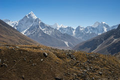 Ama Dablam and Kantega mountain peak, Everest region Stock Photos