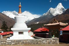Ama Dablam Lhotse and top of Everest Stock Images