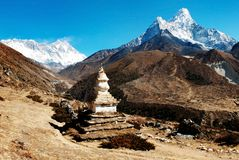 Ama Dablam Lhotse and top of Everest Stock Photos