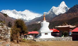 Ama Dablam Lhotse and top of Everest from Tengboche Royalty Free Stock Images