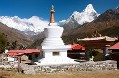 Ama Dablam Lhotse and top of Everest from Tengboche Stock Photography