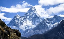 Ama Dablam, the most spectacular peak on Everest Region. View from Namche bazaar trail to Everest Base camp for Ama Dablam, the most spectacular peak on Everest stock photos