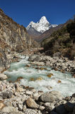 Ama Dablam Mountain Above River Royalty Free Stock Photos
