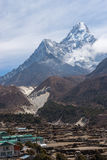 Ama Dablam mountain peak behind Pangboche village, Everest regio. N, Nepal, Asia Stock Image