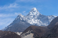 Ama Dablam mountain peak from Pangboche village. Everest region Royalty Free Stock Photo