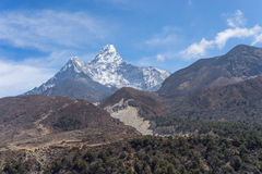 Ama Dablam mountain peak at Pangboche village, Everest region. Nepal Stock Photo