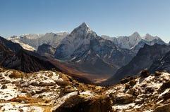 Ama Dablam mountain. Sun illuminates slopes. Himalayan mountains, Nepal. Royalty Free Stock Photos
