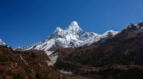 Ama Dablam mountain view in Nepal royalty free stock photos
