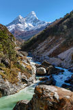 Ama Dablam mountain view in Nepal Stock Photos