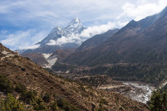 Ama Dablam mountain view at Pangboche village Royalty Free Stock Images