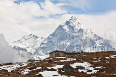 Ama Dablam Peak in Sagarmatha, Nepal Royalty Free Stock Photo