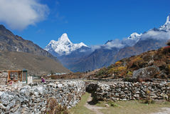 Ama Dablam, seen from Khunde village, Nepal Royalty Free Stock Images