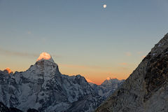 Ama Dablam sunrise. As seen from high up on Island Peak Stock Images