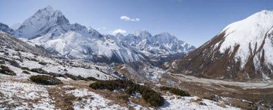 Ama Dablam szczyt, szczyt lub Everest podstawowy obóz wędrówka Obrazy Stock