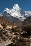 Ama Dablam. From trekking route to Everest, Pangboche, Solukhumbu, Nepal Royalty Free Stock Images
