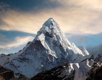 Ama Dablam on the way to Everest Base Camp. Evening view of Ama Dablam on the way to Everest Base Camp - Nepal Royalty Free Stock Photography